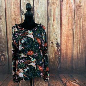 Jessica Simpson Keilani Floral Bird Tunic Top 1X